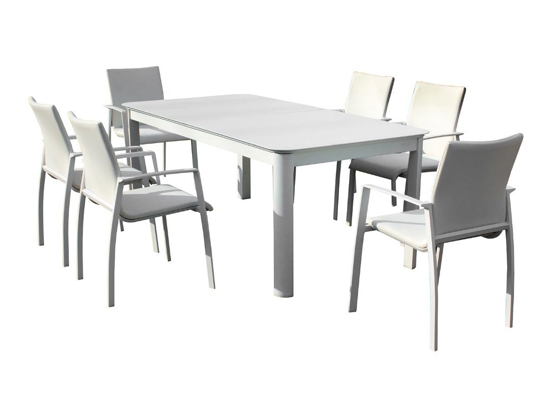 Conjunto cuzco aluminio textilene acolchado blanco