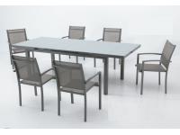 Conjunto terraza extensible aluminio gris Slat