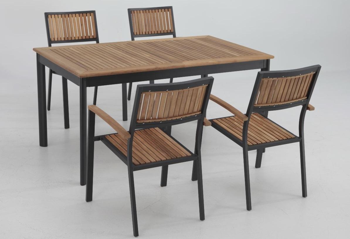 Conjunto terraza Thule teka aluminio mesa extensible 4 sillas