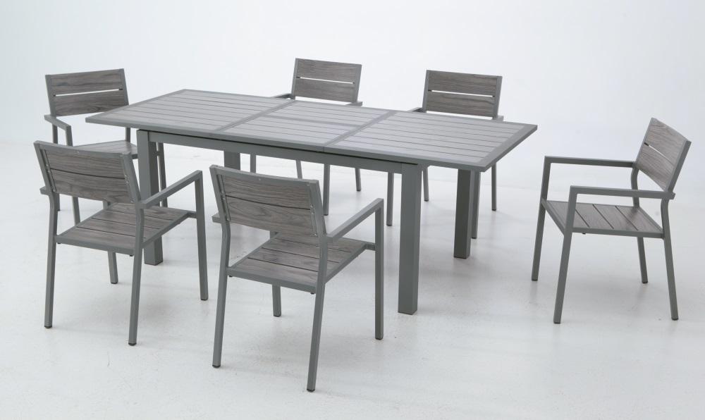 Conjunto de terraza aluminio lamas gris Suez