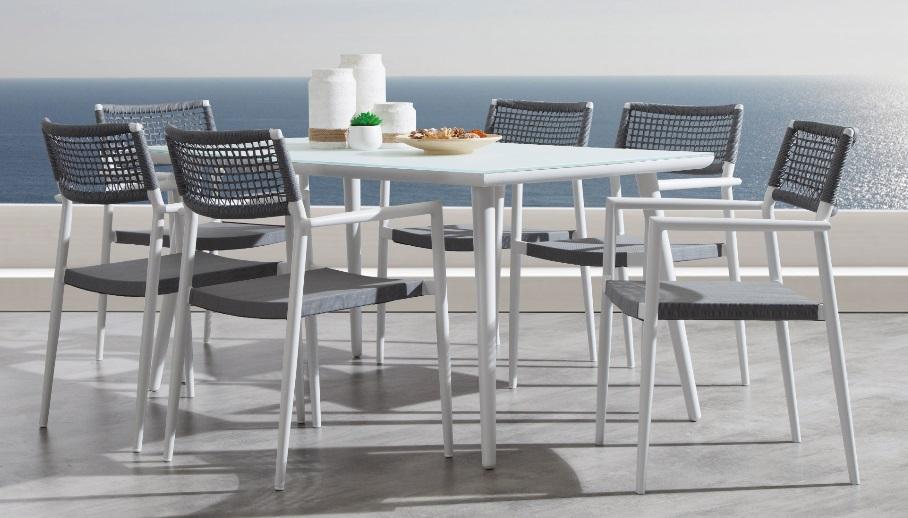 Conjunto de terraza ontario danube aluminio blanco cuerda gris