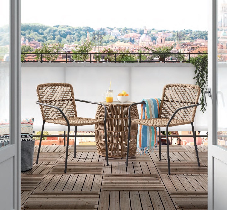 Conjunto de balcon saler cuerda beige