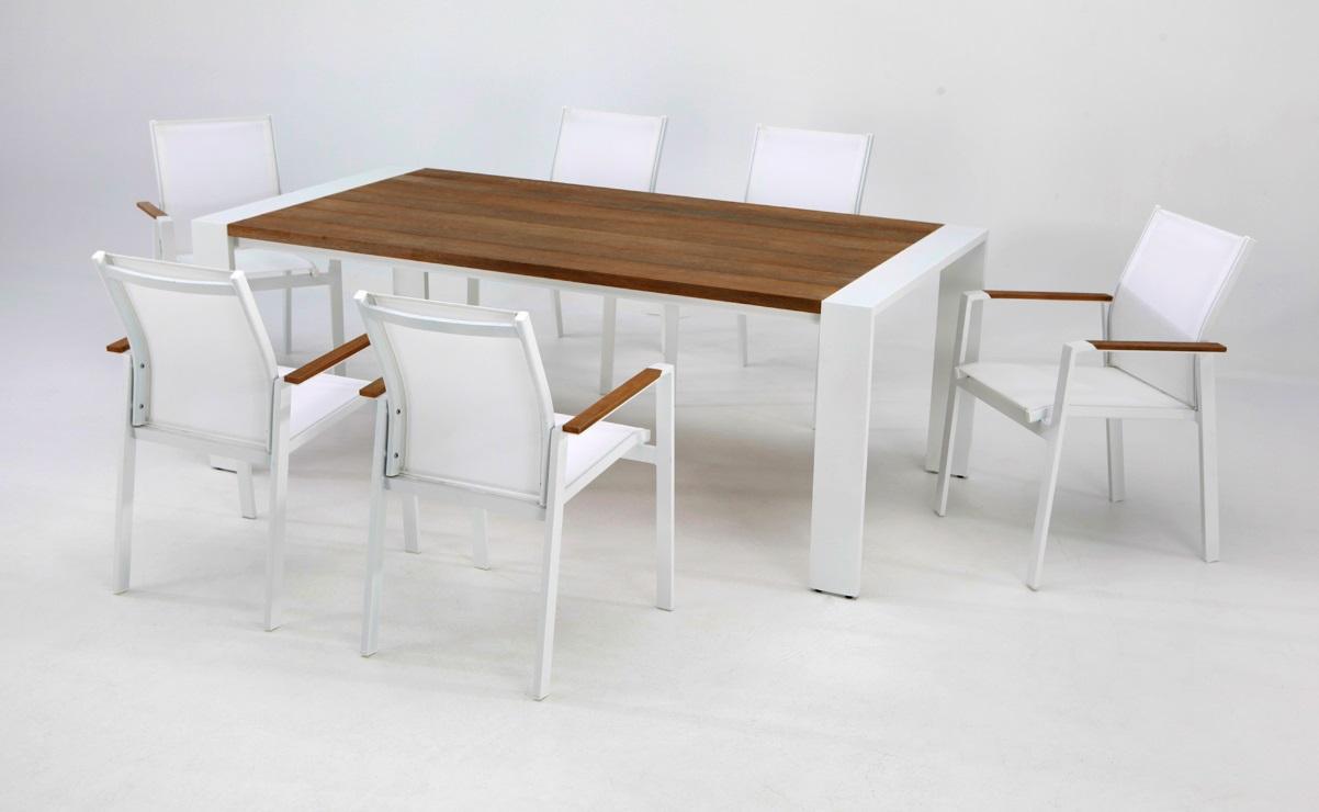 Conjunto de terraza Tunez madera aluminio blanco