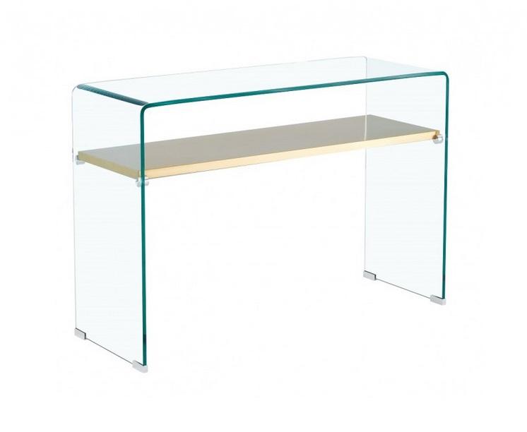 Consola gold cristal balda acero inox dorado 110x40 cm