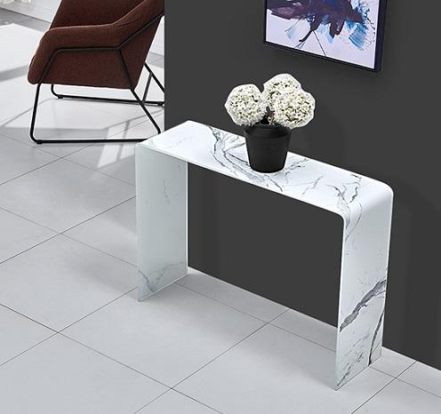 Consola cristal blanco efecto marmol 100cm