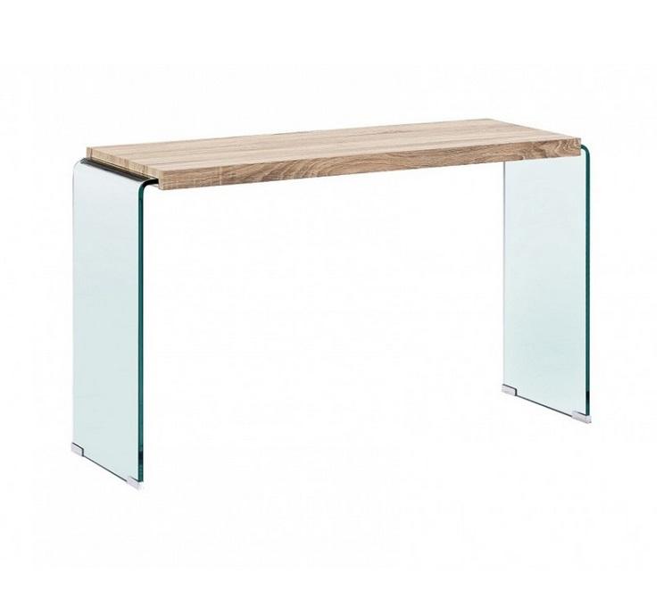Consola Oslo cristal curvado madera 120x70
