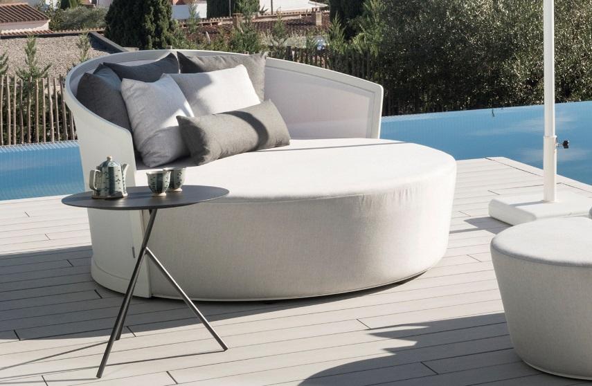 Daybed tapizado Ventura aluminio textilene blanco
