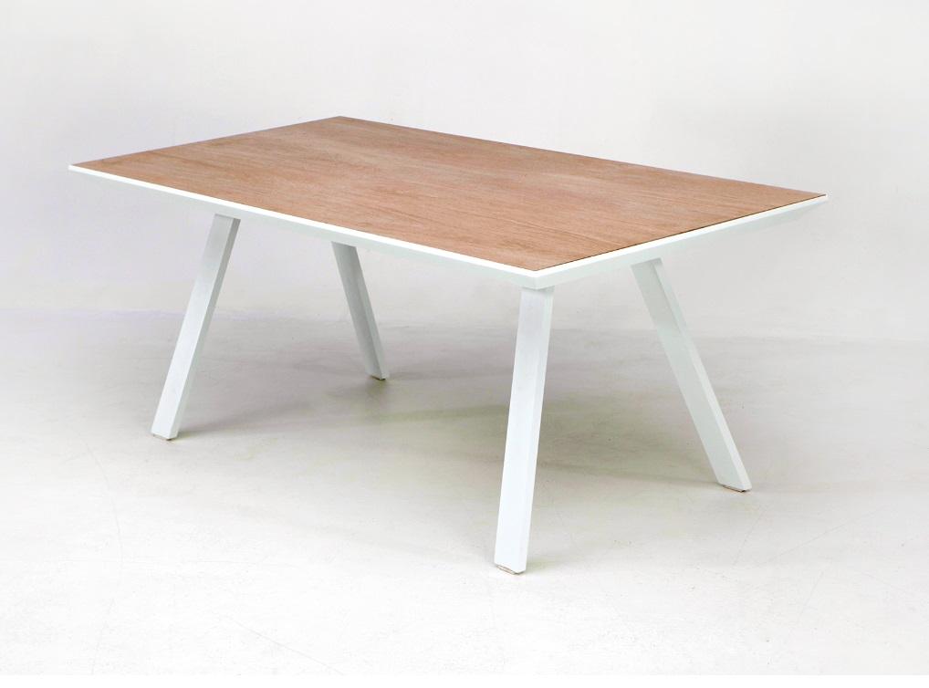 Mesa Siena aluminio blanco sobre ceramico madera roble 180x90