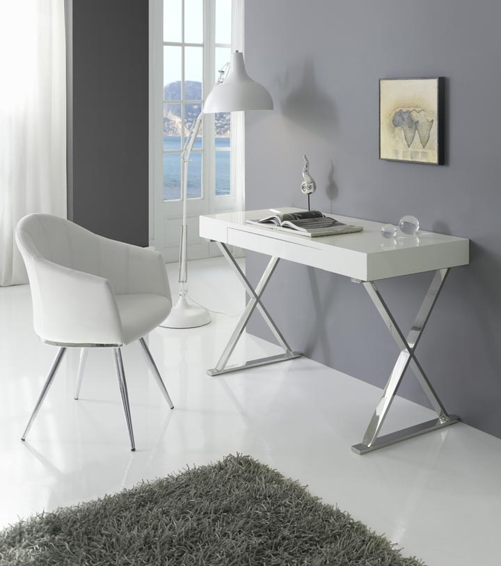 Escritorio DK-901 blanco brillo acero 120X55