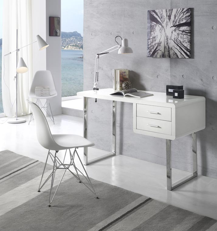 Escritorio DK-902 blanco brillo acero 120X55