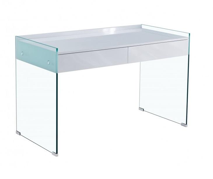 Escritorio cristal transparente cajones blanco brillo 120x60