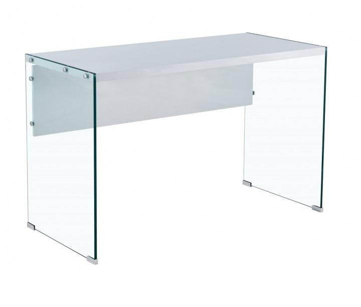Escritorio canada cristal transparente blanco brillo 120x56