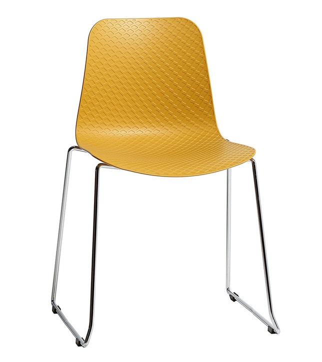 silla kloe poliuretano amarillo patin acero cromado