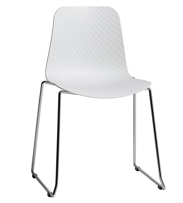 silla kloe poliuretano blanco patin acero cromado I-5903-BL
