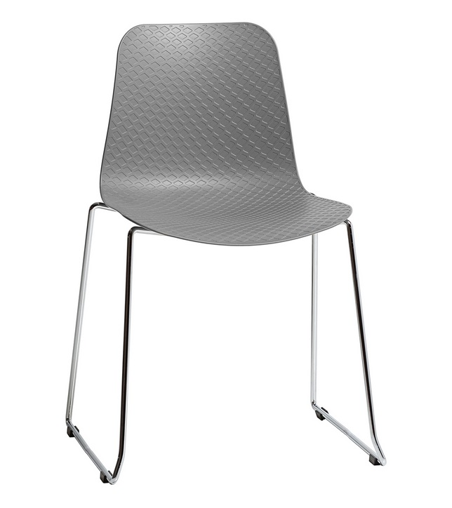 silla kloe poliuretano gris patin acero cromado