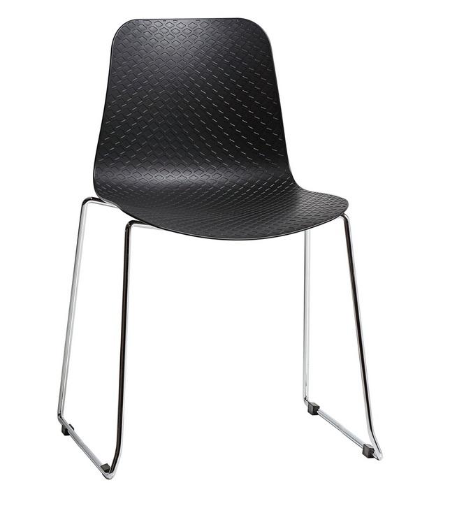 silla kloe poliuretano negro patin acero cromado