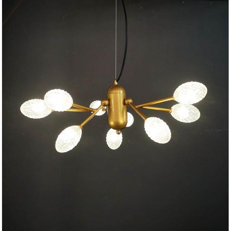 Lámpara de techo Urbano dorado mate y tulipas acrílicas 9 luces