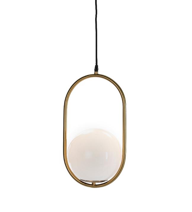 Lampara suspension vintage dorada globo cristal PL-111
