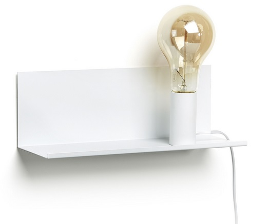 Lampara aplique estante metal blanco 35cm