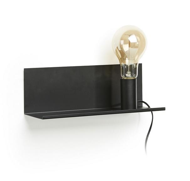 Lampara aplique estante metal negro 35cm