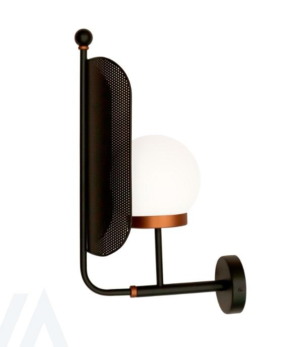Lampara aplique industrial rejilla metal negro
