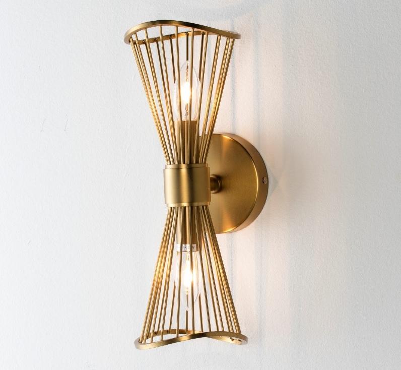 Lampara aplique pared metal dorado WL-301