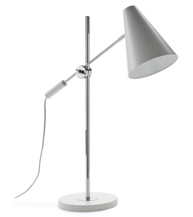 Lampara de mesa cromada metal blanco TL-13086