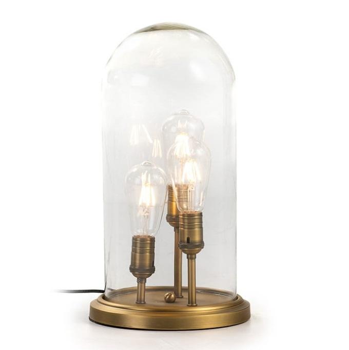 Lampara sobremesa urna cristal laton 3 luces
