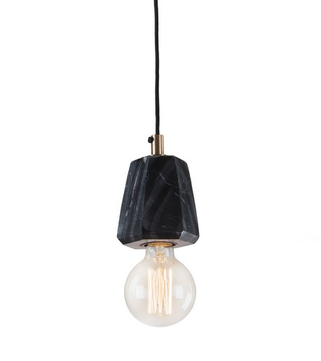 Lampara suspension marmol prisma negro 12