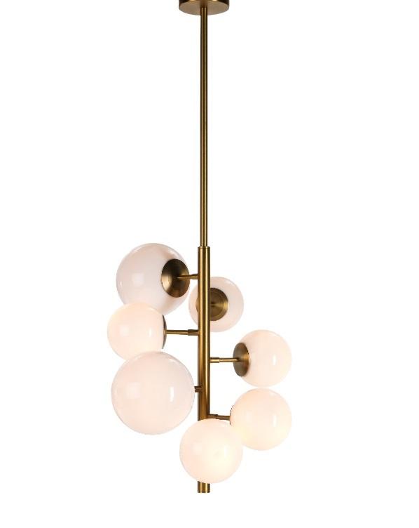 Lampara suspension vintage dorada globo cristal PL-112