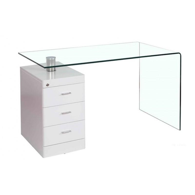 Mesa con cajonera Julia cristal curvado 125x65 cm