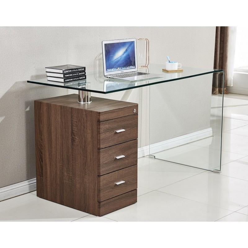 Mesa con cajonera de madera Julia cristal curvado 125x65 cm