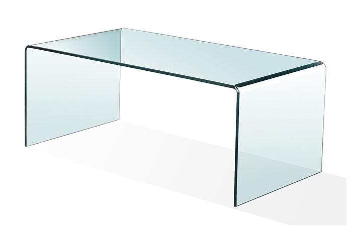 Mesa de centro cristal curvado 100x48 cm