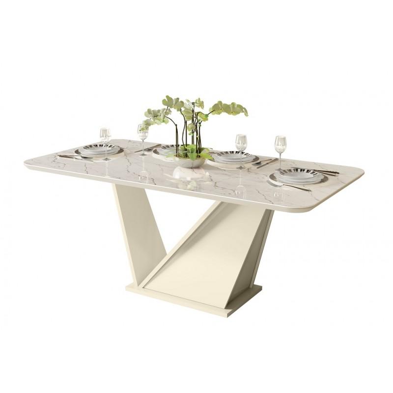 Mesa de comedor Frida con efecto mármol blanco 180x90 cm