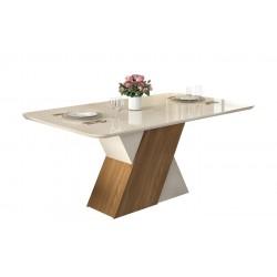 Mesa de comedor Petra de cristal y madera de roble 170x90 cm