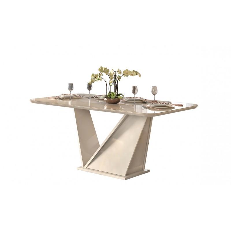 Mesa de comedor Frida de cristal y madera 180x90 cm