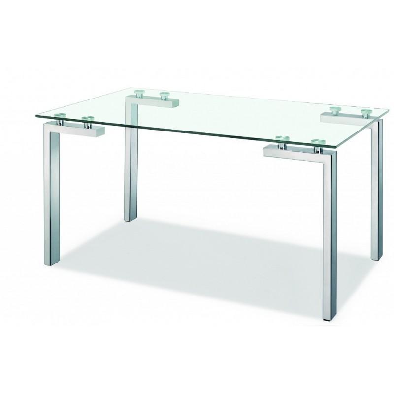 Mesa de cristal Paris patas cromadas 140x80 cm