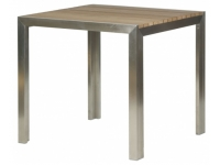Mesa acero inox y teka Style 80x80