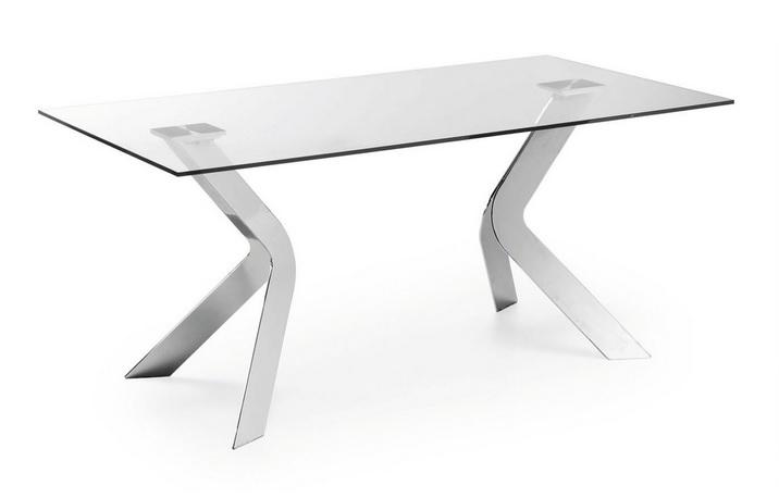 mesa cristal acero cromada Allure 180x90