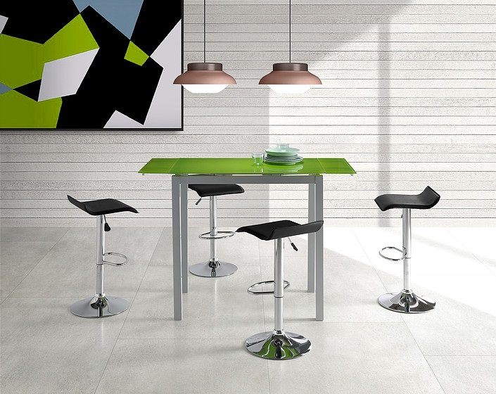 Conjunto de cocina mesa alta extensible cristal verde Sintra