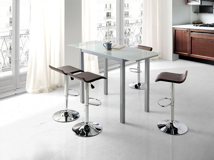 Mesa de cocina alta extensible Sintra cristal blanco