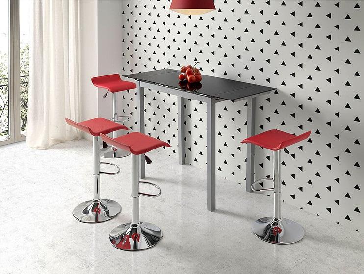 Mesa de cocina alta extensible Sintra cristal negro