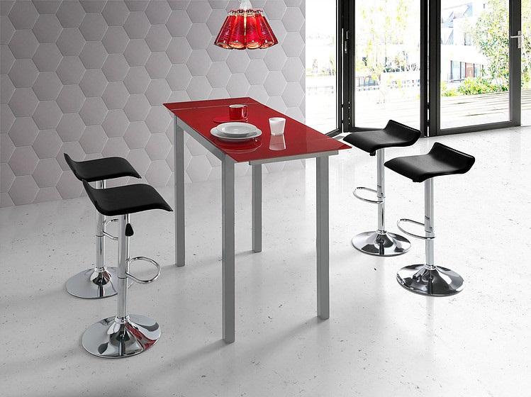 Conjunto de cocina mesa alta extensible cristal rojo Sintra