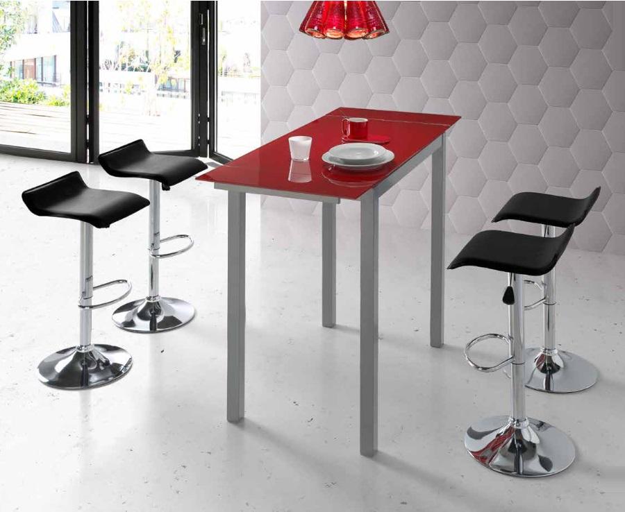 Mesa de cocina alta extensible Sintra cristal rojo