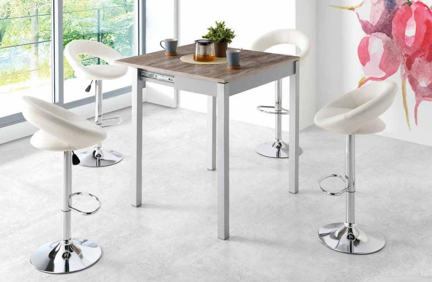 Conjunto de cocina mesa alta madera beige faro taburetes polipiel leire
