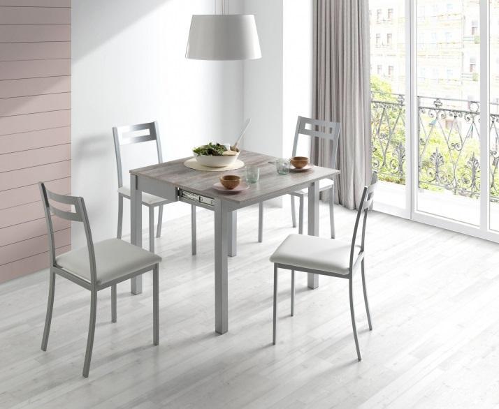 Mesa de cocina extensible madera laminada beige Faro 90 x 45-90