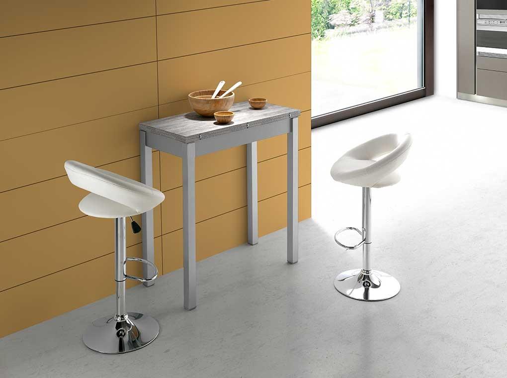 Mesa de cocina alta extensible madera gris Faro 90 x 45-90 cm