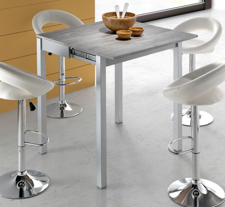 Conjunto de cocina mesa alta madera gris faro taburetes polipiel leire