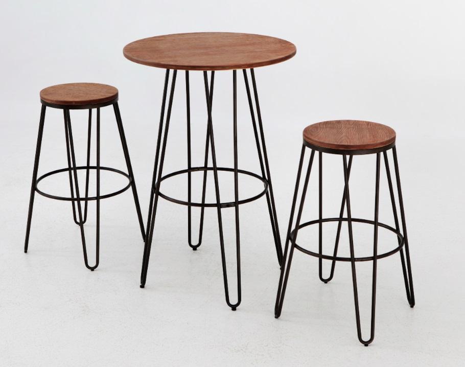 Conjunto de bar mesa alta old  hierro bronce industrial
