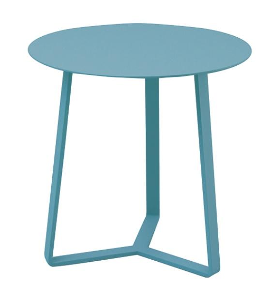 Mesa auxiliar apollo redonda aluminio azul 44x37
